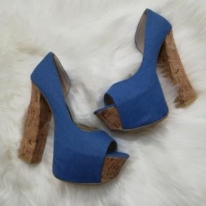 Fahrenheit Blue Canvas Denim Cork Platform Heels